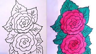 How to draw,  ROSES AND LEAVES, easy flowers, free drawing lessons