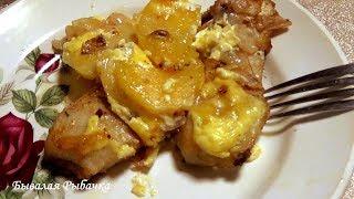 Щука, Запеченная в духовке с картофелем под майонезом. рецепт