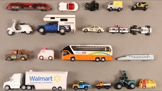 Learn Vehicles for Kids Children Babies Toddlers with Bus Car Van Truck Ambulance Scooter Caravan