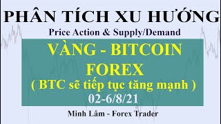 PHÂN TÍCH XU HƯỚNG VÀNG - BITCOIN - FOREX 02-6/8/21 ( Bitcoin sẽ còn tăng đến đâu? )