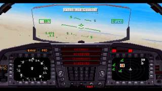 F-15 Strike Eagle 3: Run out-of-fuel emergency landing at desert! (PC,DOS,1992)