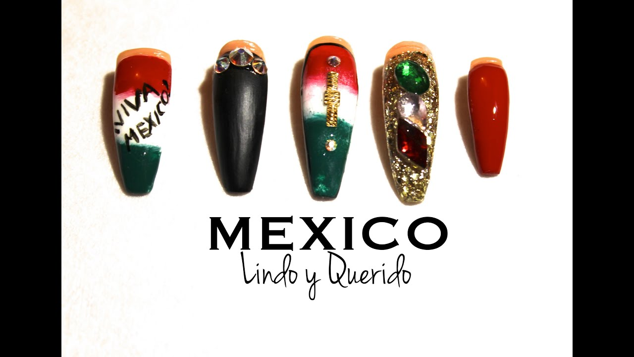 How To Mexican Independence Day Nails Youtube
