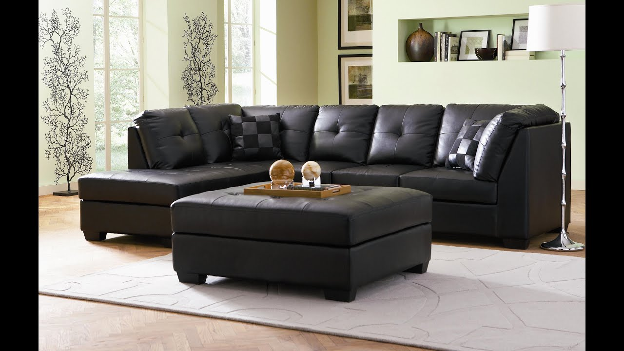 leather sectional white and black