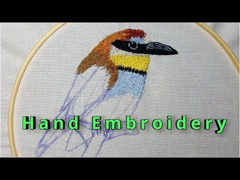 Hand Embroidery - silk shading technique - long and short stitch - stitching bird part 1