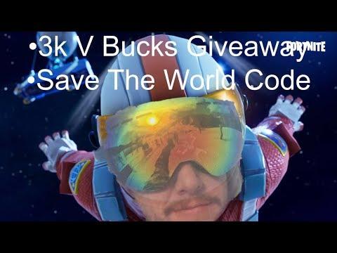 3k V bucks + Save The World Code Free Giveaway | Fortnite Livestream PS4 PC Xbox XBOne