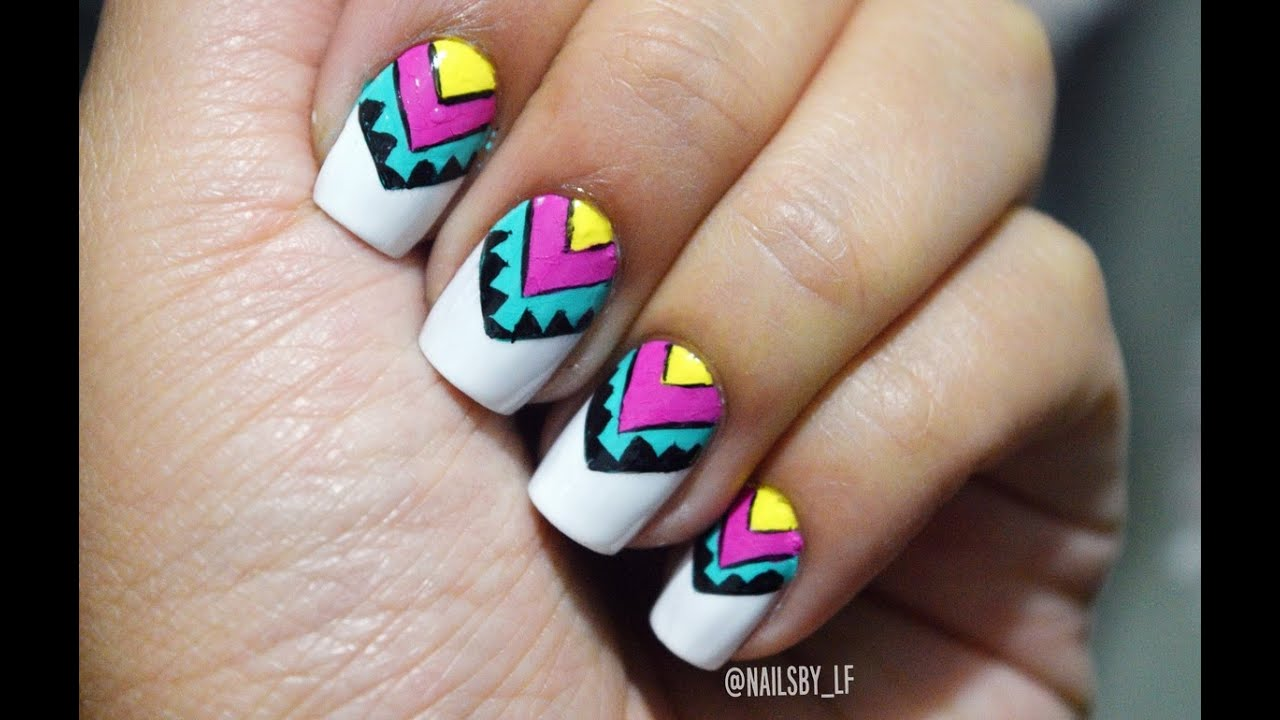 Decoracion de uñas Tribal colorido | Laura Trujillo - YouTube