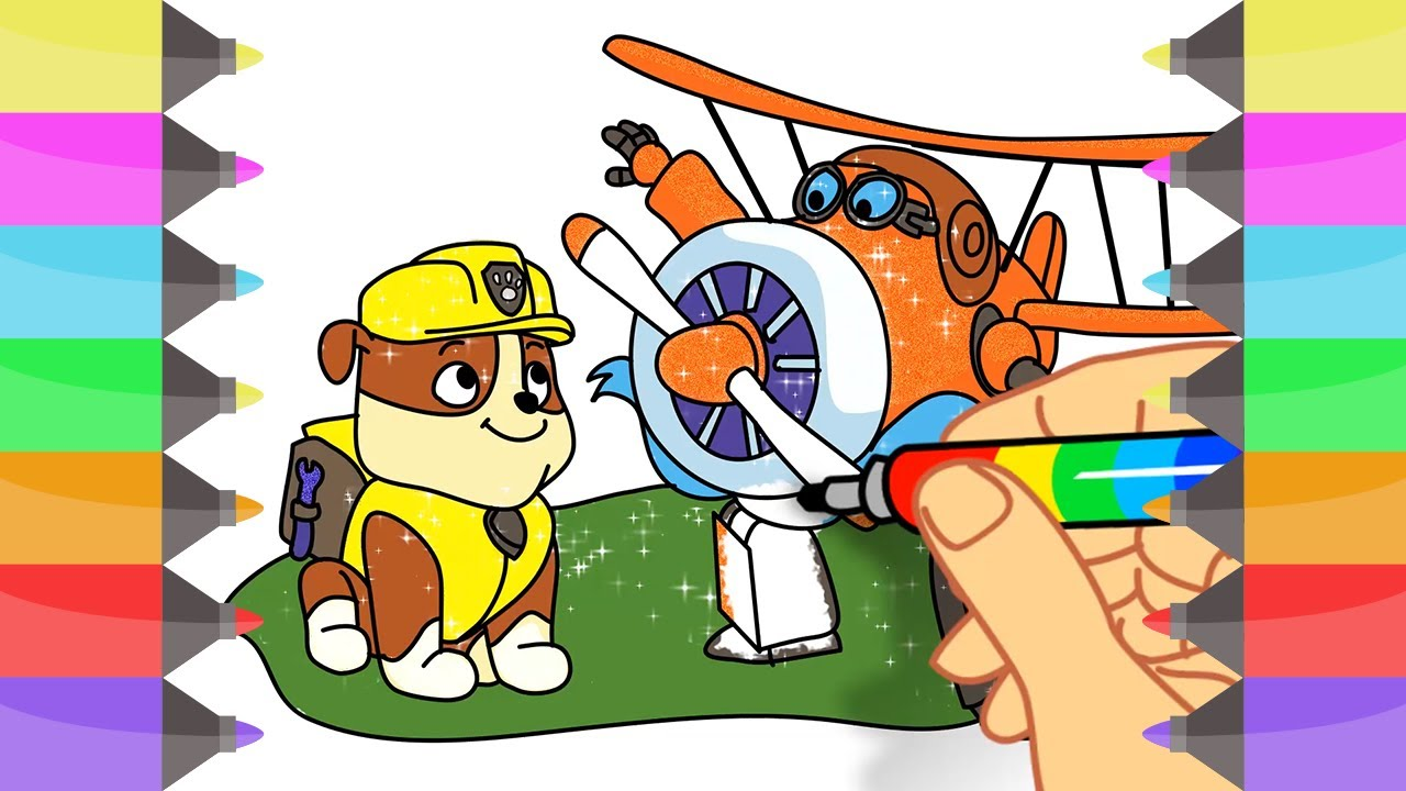 How To Draw Super Wings Grand Albert With Rubble Paw Patrol
