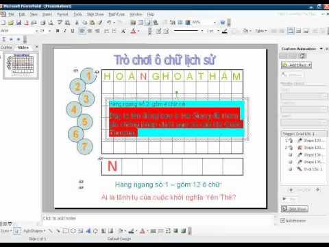 Hướng dẫn tạo trò chơi ô chữ bằng Powerpoint   p1