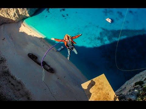 600 foot Insane Rope Swing over SHIPWRECK!!! - in Greece in 4K!   DEVINSUPERTRAMP