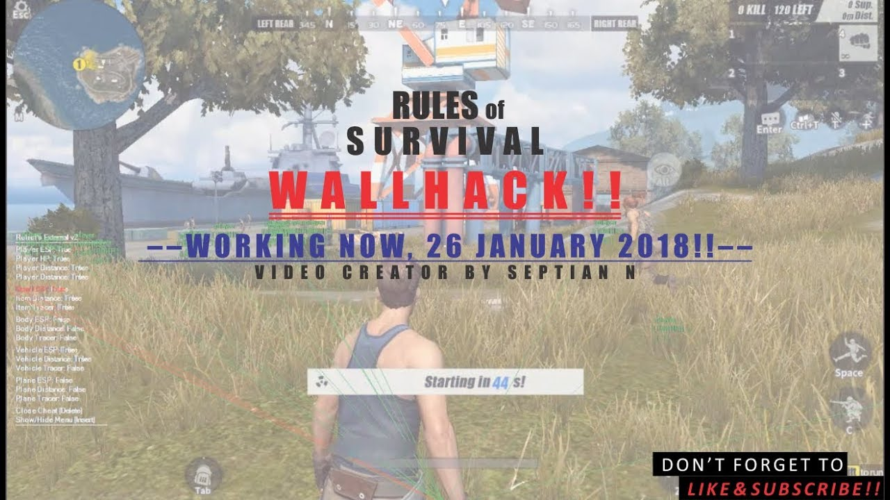 RULES OF SURVIVAL WALLHACK NEW PATCH | 26 01 2018 (WORK IN NEW PATCH) |