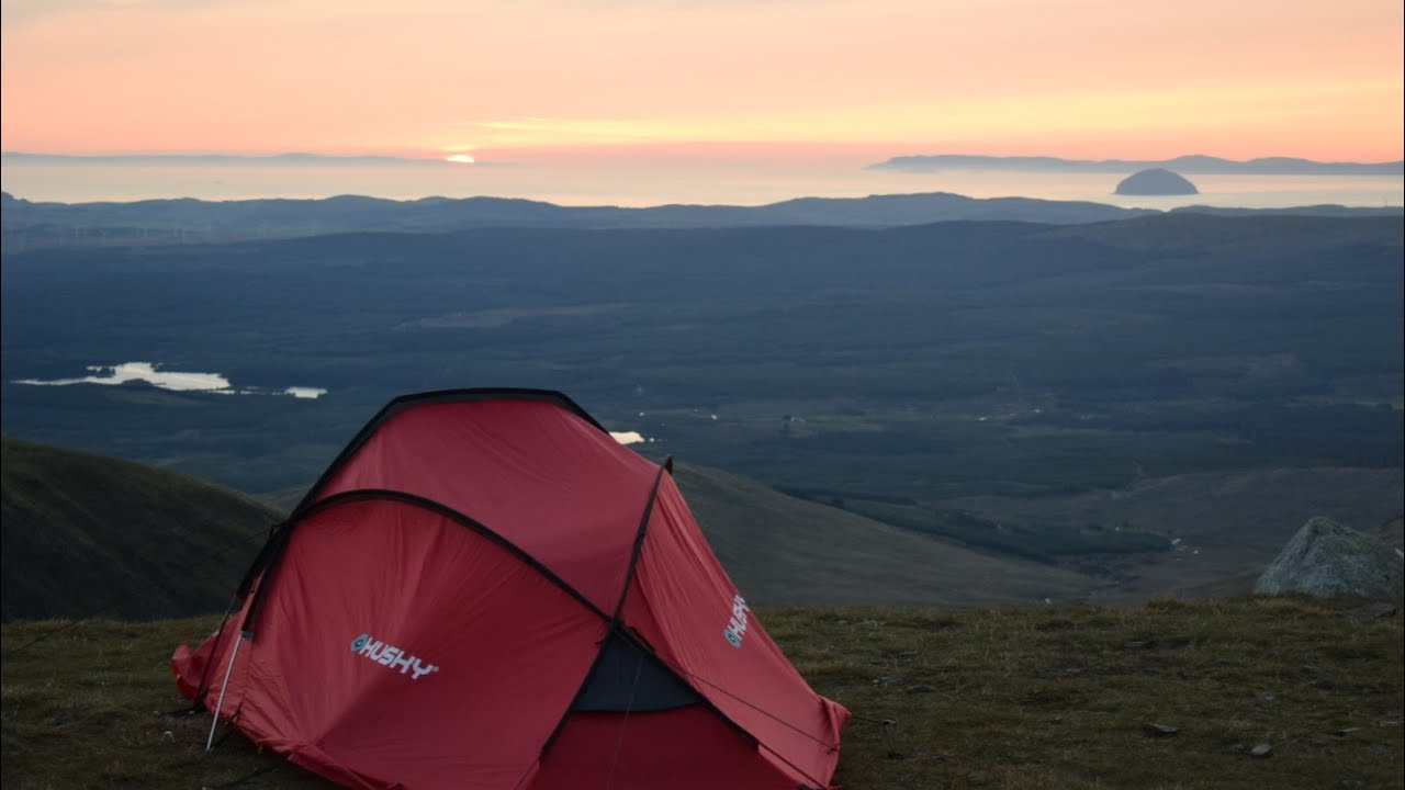 Wild camping Scotland. Solo summit camp. Gale force storm ...