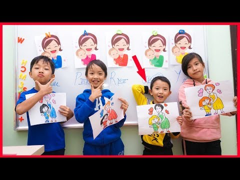 Tony Bin Go To School Learn Colors Mother and Child ★ Classroom Funny Nursery Rhymes