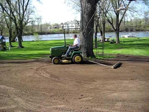 John Deere Garden Tractor Used For Final Yard Grading - Youtube