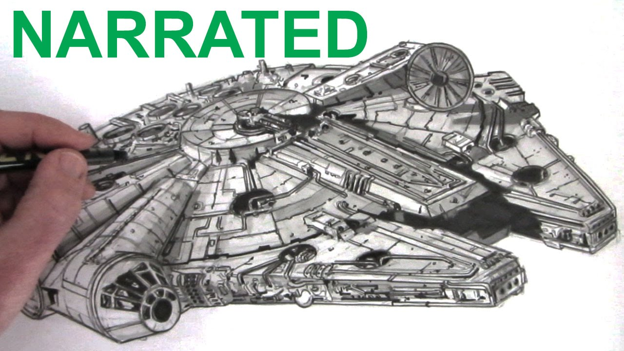 How To Draw The Star Wars Millennium Falcon: Narrated   YouTube