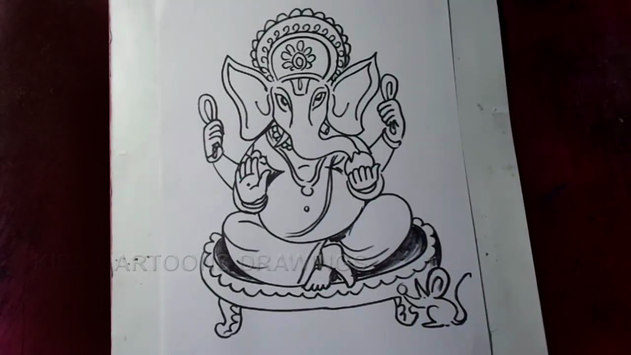 How to draw lord ganesha sitting pose simple drawing