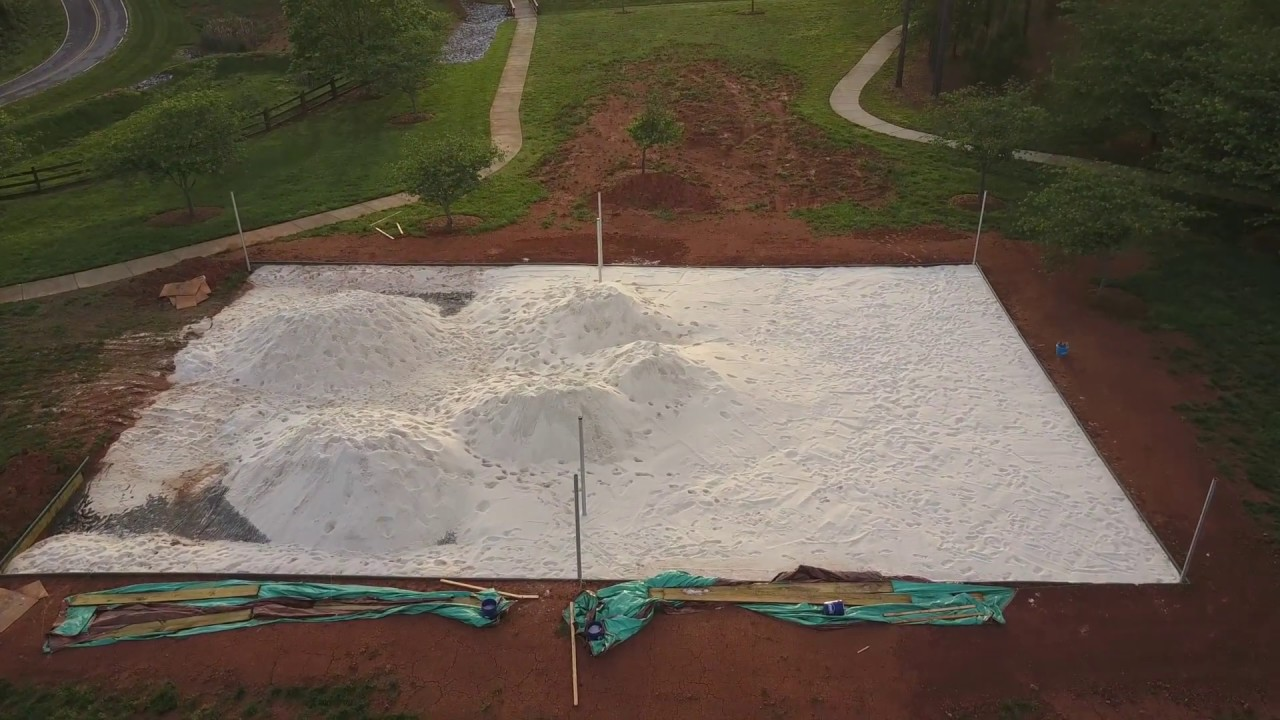 Volleyball Court Construction Process - YouTube