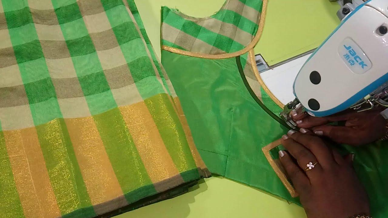 ca5f4d941ad60 Cotton saree model blouse - Easy method - YouTube