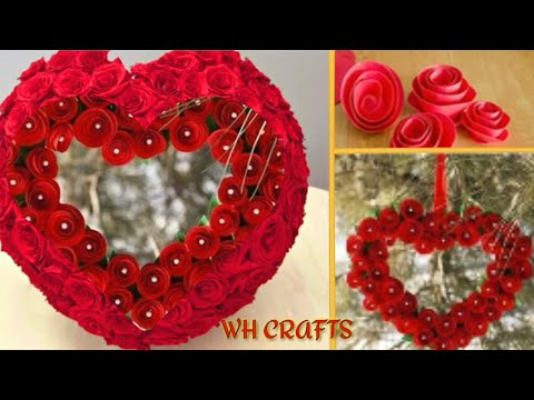 How to make heart from Flowers | heart from paper | heart wall hanging craft ideas