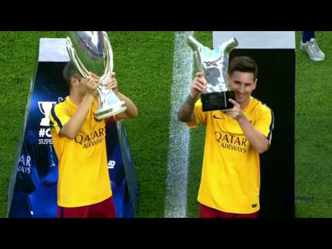 Lionel Messi Presenting His UEFA Best Player in Europe Award to Camp Nou Fans   HD