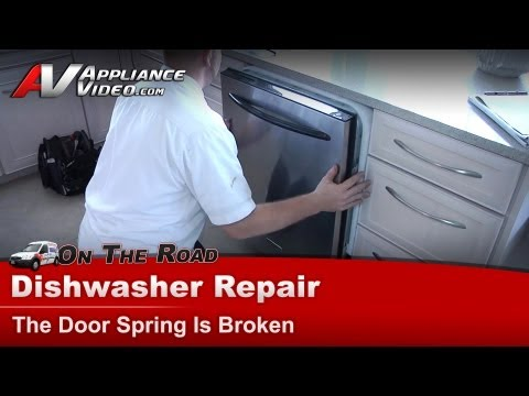 KitchenAid & Whirlpool Dishwasher Repair - The Door Spring assembly Is Broken - KUDS02FRBL1