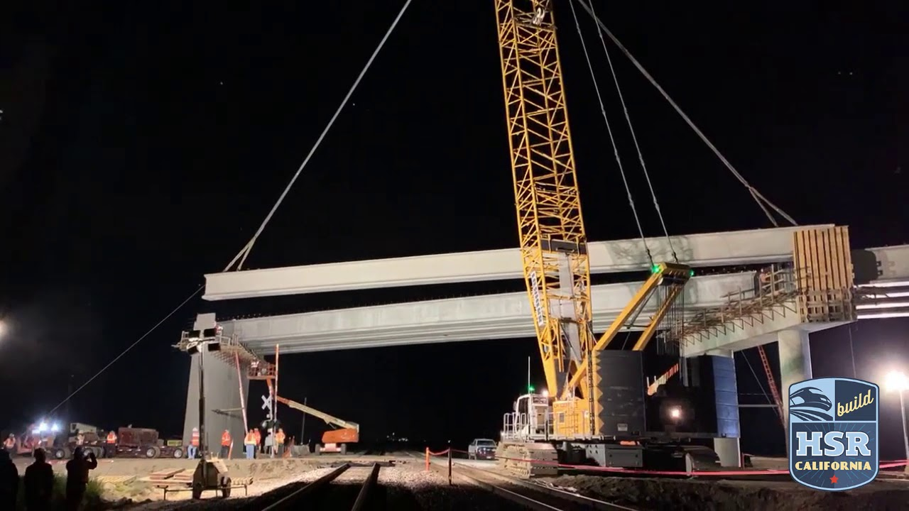 Two spans of girders were set over a couple of days at the end of March, with girders set over the railroad at night in coordination with BNSF railroad. The 35-foot tall, two-span structure will take traffic over the future high-speed train and the existing BNSF freight rail alignment.