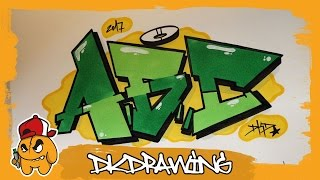 Simple Graffiti Alphabet - How to draw graffiti letters A to C