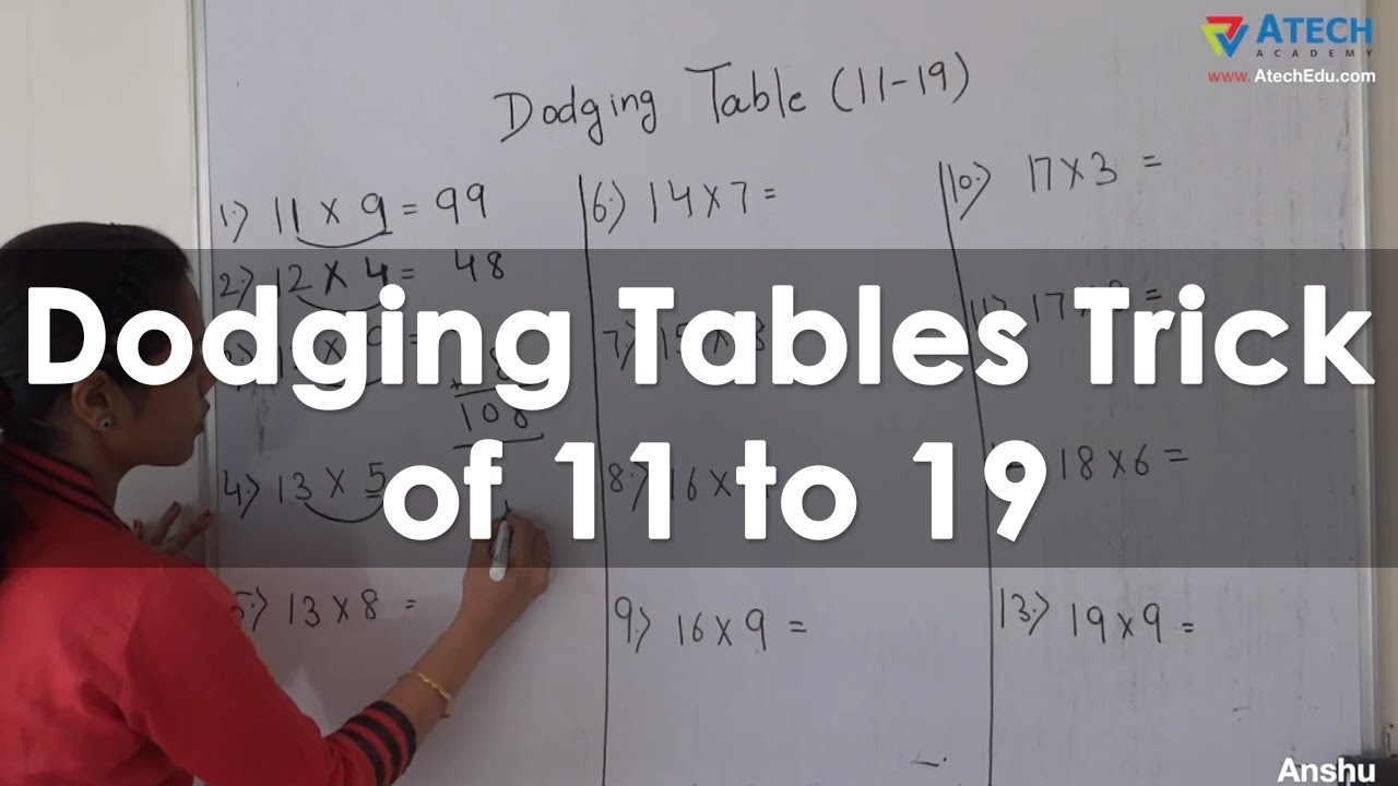 easy way to learn dodging tables trick of 11 to 19 simple