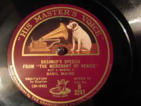 Bassanio's Speech - The Merchant Of Venice - William Shakespeare - Basil Maine - Recitation - 78 rpm
