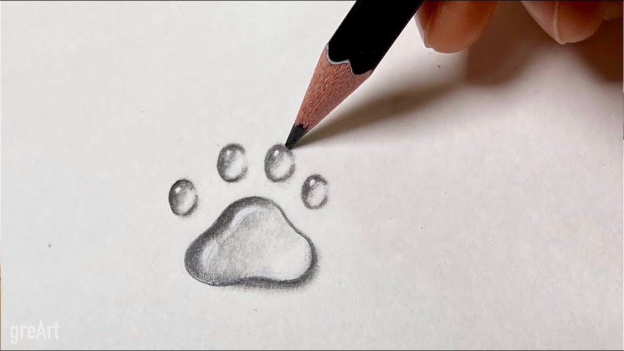 How to Draw Water Drops _Cat's foot print_Easy_Beginner_Pencil Drawing #shorts