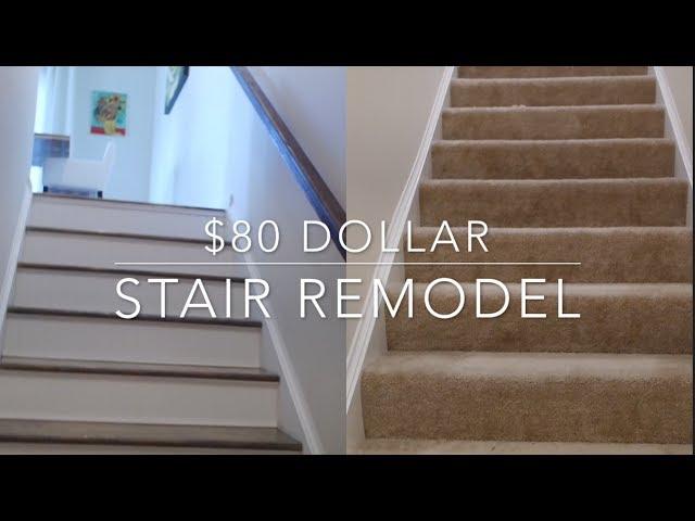 80 Stairs Makeover Diy Youtube   Stairs And Landing Carpet Price   Measure   Landing Mat   Hallway   Grey   Stair Runner