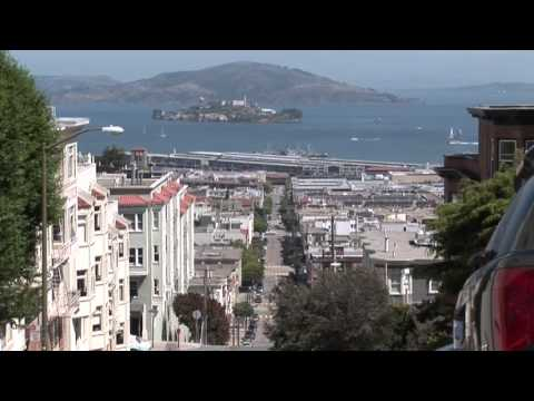 Alcatraz Island Prison Tilt Up View from a San Francisco Hill