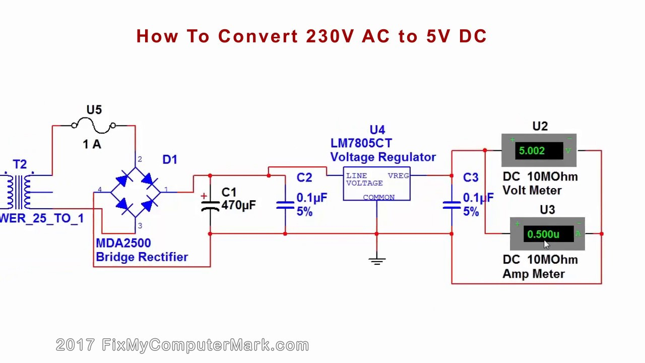 How to convert 230V AC, or 120V AC to 5V DC - YouTube