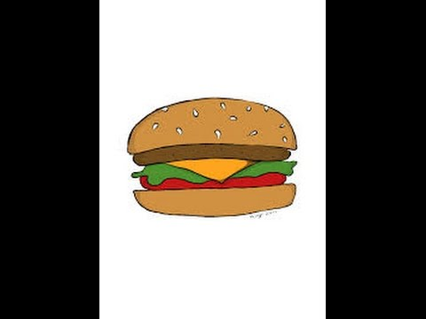 How to draw a Cheese Burger - YouTube