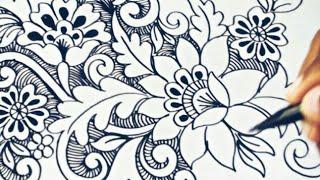 Belajar Menggambar Bunga Batik  Part 1