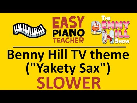How to play Yakety Sax (Bennie Hill TV theme): EASY keyboard song! (Piano tutorial SLOW with notes)