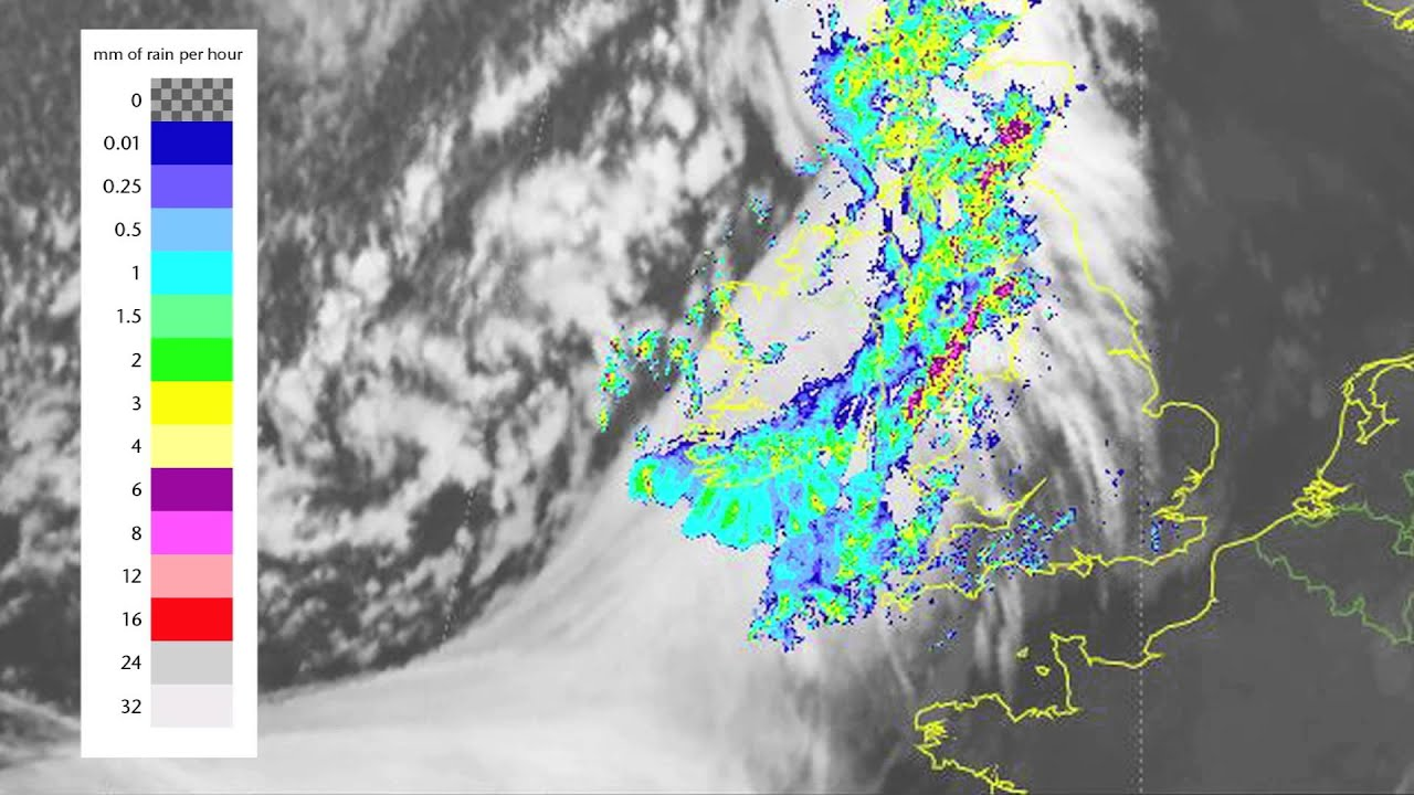 Satellite and rainfall radar showing the weather from this week