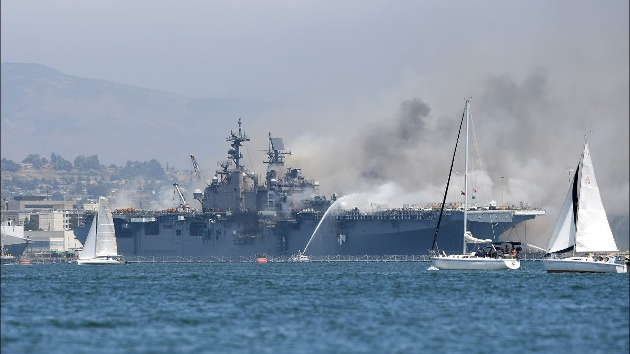 Blaze rages on USS Bonhomme Richard more than 24 hours after ...