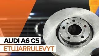 Kuinka vaihtaa etu jarrulevyt, etu jarrupalat AUDI A6 C5 -merkkiseen autoon OHJEVIDEO | AUTODOC