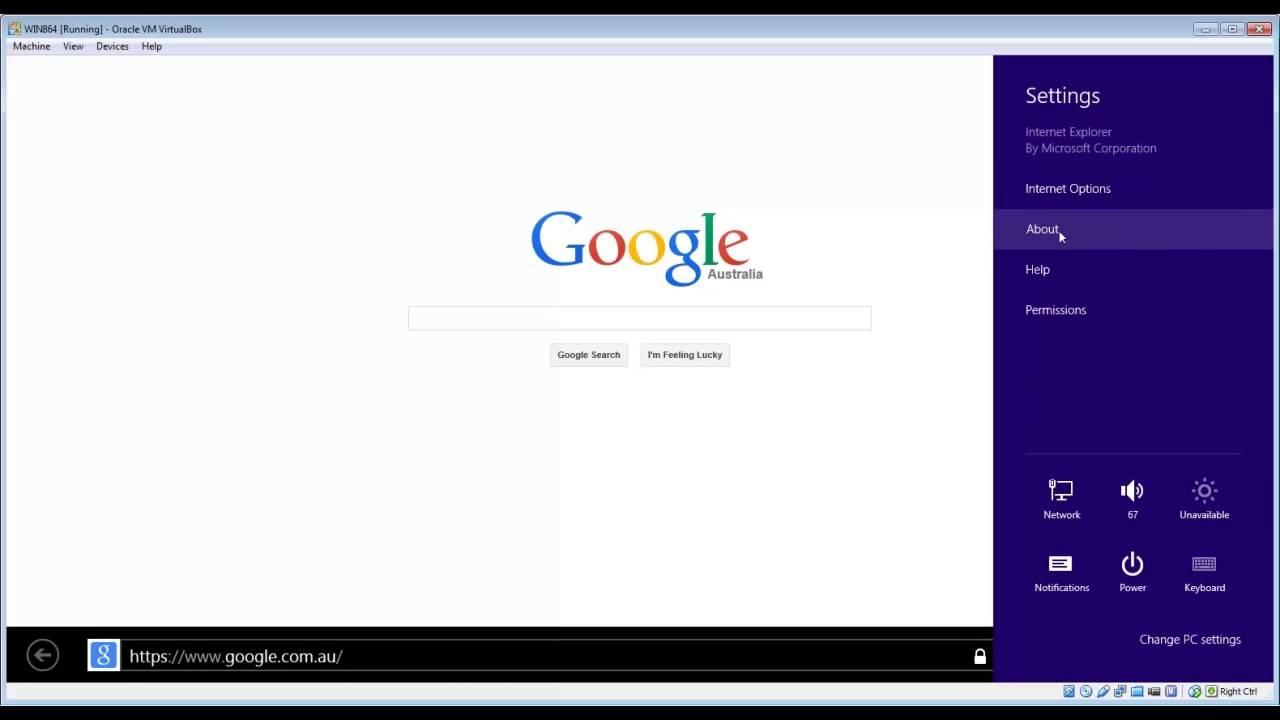 Check Internet Explorer browser version Windows 8