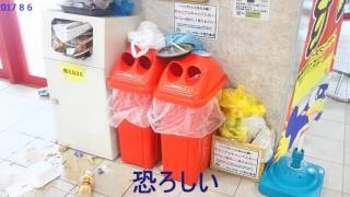 量販店での中国人の大量のゴミ投棄.