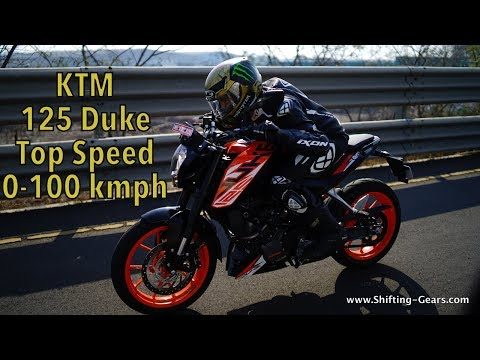 KTM Duke 125 top speed and 0 to 100 kmph acceleration - Video