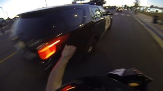 Street Bike VS Cops Biker Slaps STICKER Onto Cop Car CHASE Motorcycle CRASH Running From Police FAIL