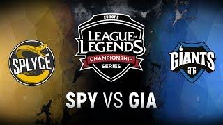 SPY vs. GIA  - Week 5 Day 1   EU LCS Spring Split    Splyce vs. Giants Gaming (2018)