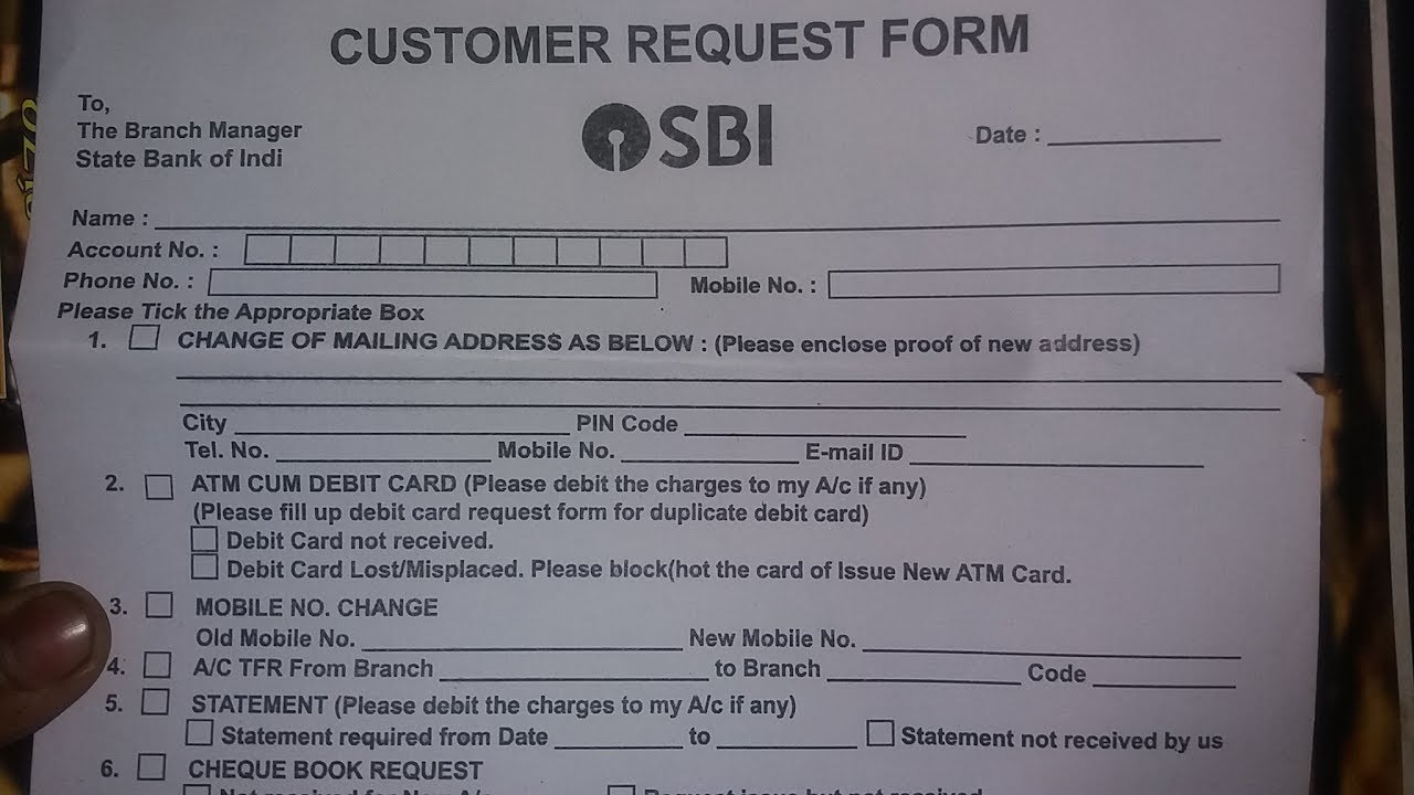 Sbt Cheque Book Request Form