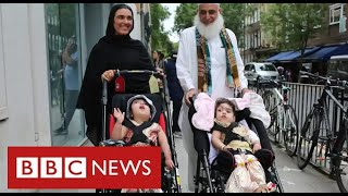 Separated twins Marwa and Safa return home after months of treatment - BBC News