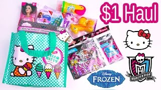 $1 Dollar Tree Hello Kitty Bag Disney Frozen Crashlings Blind Bags Toy Doll Dough Monster High Video