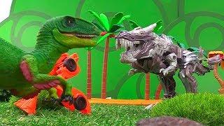 Игры с Трансформерами - Динобот встречает динозавров – Видео для мальчиков.