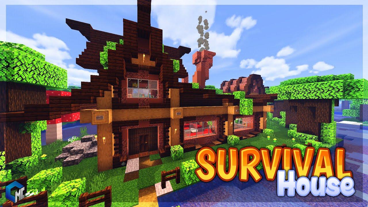 Survival House Dark Oak Forest Map Building Minecraft Pe Maps