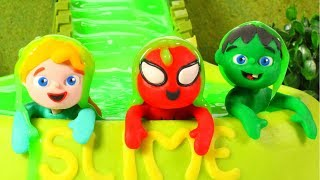 SUPERHERO BABIES HAVING FUN AT THE SLIME POOL ❤ SUPERHERO PLAY DOH CARTOONS FOR KIDS