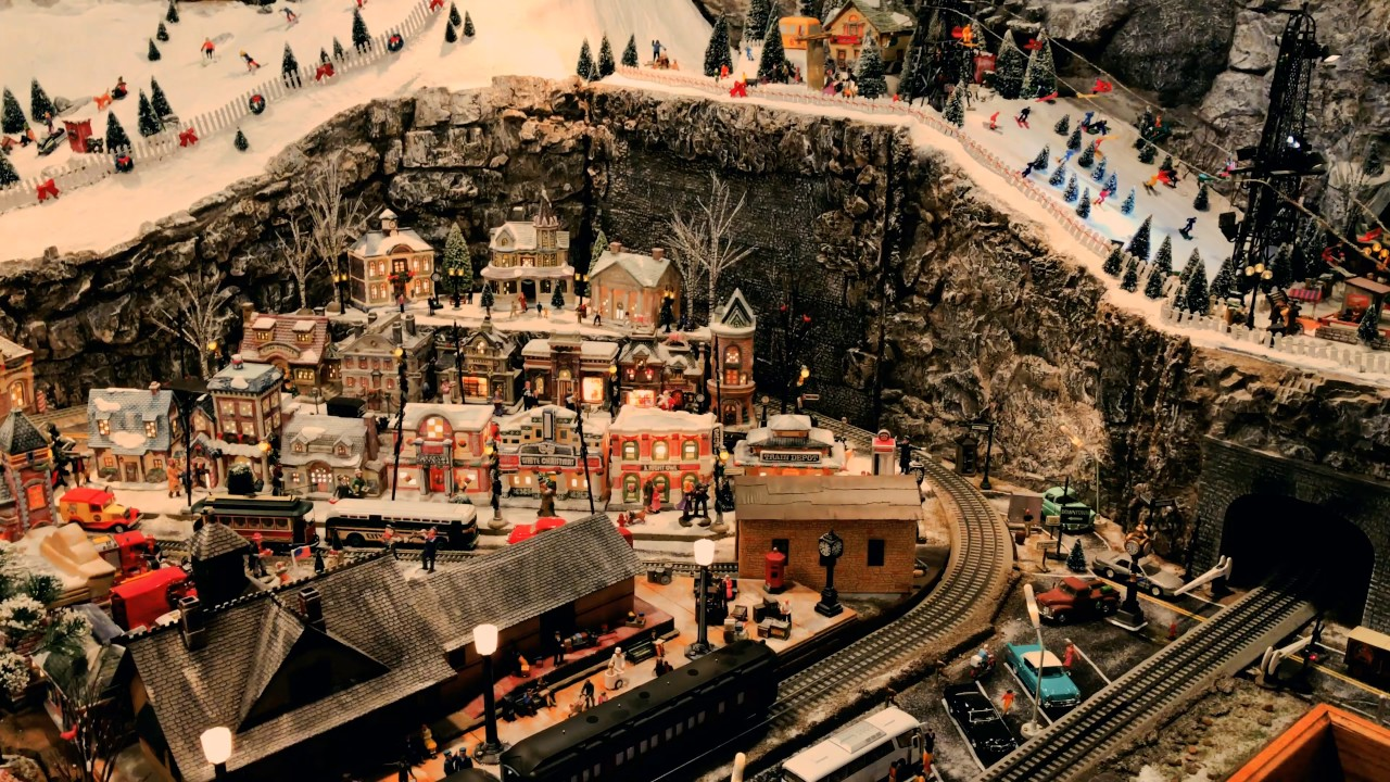 Epic Vintage Christmas Village Surrounds Model Railroad